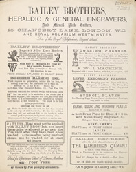 Advert For Bailey Brothers, Heraldic & General Engravers